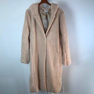 Which We Want Blushy Beige Long Teddy Coat L NWT
